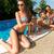 boldog · nyár · nő · napszemüveg · medence · portré - stock fotó © geribody