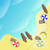 illustration of beach with sea boats and parasols stock photo © gigra