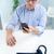 homem · surpreendido · telefone · móvel · careca · trabalhador · de · escritório · óculos - foto stock © Giulio_Fornasar