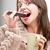 kız · yeme · cep · telefonu · çay · komik · kadın - stok fotoğraf © Giulio_Fornasar