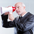 man using a megaphone with eyes instead of mouth stock photo © Giulio_Fornasar