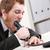 молодые · бизнесмен · сердиться · еды · телефон · гарнитура - Сток-фото © Giulio_Fornasar