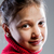 portre · kız · kırmızı · kazak · genç - stok fotoğraf © giulio_fornasar