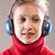 音楽 · 女の子 · 音楽を聴く · 青 · ヘッドホン - ストックフォト © Giulio_Fornasar