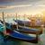 zonsopgang · water · zee · kerk · reizen · boot - stockfoto © givaga