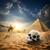 madár · piramisok · sivatag · égbolt · nap · naplemente - stock fotó © givaga
