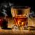 vidrio · whisky · mesa · de · madera · fondo · hielo - foto stock © givaga