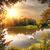 вечер · пруд · закат · цветок · облака · фон - Сток-фото © givaga
