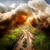 rayo · carretera · campo · camino · rural · árbol · paisaje - foto stock © givaga