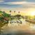 palmboom · boten · zonsondergang · tropisch · eiland · zee · palm - stockfoto © givaga