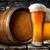 cerveza · barril · trigo · mesa · de · madera · luz · vidrio - foto stock © givaga