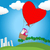cute couple in love flying away on a hot air balloon stock photo © glyph