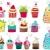 Set of cute retro cupcakes stock photo © glyph