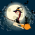 cute halloween witch with black cat flying in front of a full moon stock photo © glyph