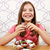 menina · alimentação · torta · ilustração · escuro · comida - foto stock © goce