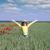 güzel · küçük · kız · haşhaş · çiçekler · çayır · bahar - stok fotoğraf © goce
