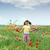 happy little girl playing on meadow spring season stock photo © goce