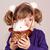 imádnivaló · gyermek · tart · szőrös · fehér · nyúl - stock fotó © goce