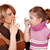 woman with cigarette and little girl with asthma inhaler stock photo © goce