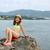 küçük · kız · tatil · sahil · ayakta · plaj · iki - stok fotoğraf © goce