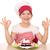 feliz · little · girl · cozinhar · doce · framboesa · bolo - foto stock © goce