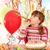 幸せ · 女の子 · トランペット · 帽子 · 風船 · 誕生日パーティー - ストックフォト © goce