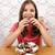 девочку · еды · десерта · Cute · пластина · вилка - Сток-фото © goce