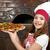 kislány · szakács · pizza · gyerekek · szakács · gyerek - stock fotó © goce