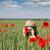 女の子 · 緑 · 麦畑 · 春 · シーズン · 空 - ストックフォト © goce