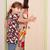 nina · vestido · mirando · espejo · alegre · feliz - foto stock © goce