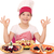 szczęśliwy · dziewczynka · gotować · znak · ręką · żywności - zdjęcia stock © goce