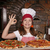 happy little girl cook with pizza and ok hand sign stock photo © goce