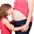 meisje · zoenen · zwangere · moeder · shot · weinig - stockfoto © goce