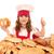 feliz · nina · cocinar · pulgar · hasta - foto stock © goce