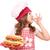 boldog · kislány · szakács · hot · dog · ok · kézjel - stock fotó © goce