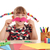 little girl makes paper mustache stock photo © goce