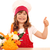 boldog · kislány · szakács · pisztráng · hüvelykujj · felfelé - stock fotó © goce
