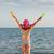 küçük · kız · ayakta · plaj · çocuk · deniz - stok fotoğraf © goce