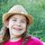 девушки · соломенной · шляпе · весны · деревянный · стол · доске · стены - Сток-фото © goce