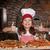 mutlu · küçük · kız · pişirmek · pizza · başparmak · yukarı - stok fotoğraf © goce
