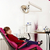 kislány · ül · szék · retro · szemek · haj - stock fotó © goce