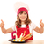 happy little girl cook with thumbs up and white swan decorated s stock photo © goce