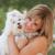 mujer · perro · mujer · hermosa · nina · mano - foto stock © godfer
