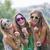 boldog · lányok · nevet · tökéletes · fehér · egyenes - stock fotó © godfer