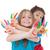 счастливым · детей, · играющих · краской · девушки · рук · детей - Сток-фото © godfer