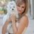 jonge · vrouw · knuffelen · hond · meisje · haren · vrienden - stockfoto © godfer