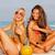 lányok · ül · tengerpart · kettő · legjobb · barátok · tengerpart - stock fotó © godfer