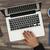 férfi · iroda · laptop · közvetlenül · fölött · kilátás - stock fotó © goir