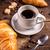 croissant · kávé · klasszikus · stílus · háttér · fekete - stock fotó © grafvision