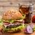 hamburger · tavolo · in · legno · formaggio · vegetali · pomodoro · fast · food - foto d'archivio © grafvision